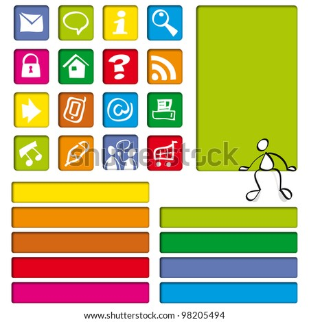 internet color icons for cute website
