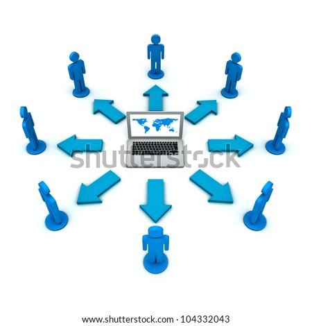 Internet communication and social network concept on white background