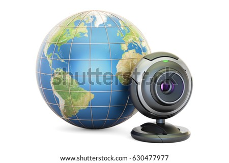 Internet communication concept, Earth globe with webcam. 3D rendering, Elements of this image furnished by NASA #630477977