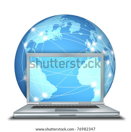 Internet communication represented by an isolated laptop computer with a blue globe and a network of connections.