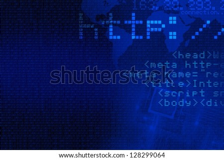 Internet Concept Background. Abstract Blue Internet Background with Some Web Coding Elements. Computers Technology Backgrounds Collection.