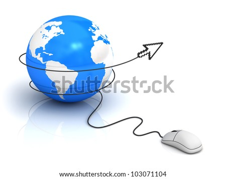 Internet concept, Earth globe and computer mouse with arrow cursor on white background