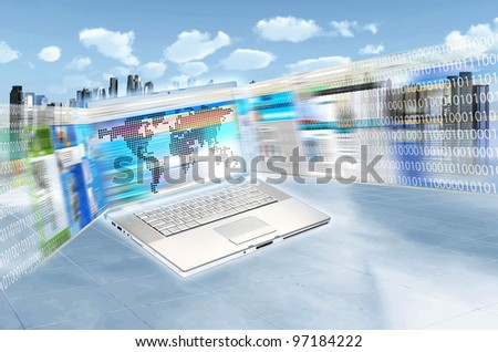 Internet concept illustrated with websites flashing on laptop screen in high speed movement and futuristic cityscape as background