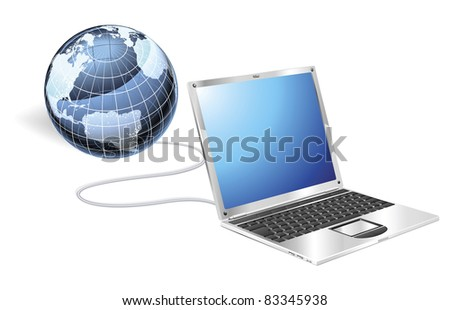 Internet concept illustration. Laptop connected to a globe.