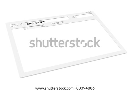 Internet Concept. Perspective view of a white Browser window