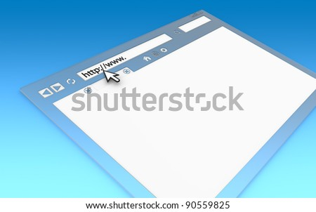 Internet Concept. Perspective view of Browser Window. Transparent with blue faded background, copy space.