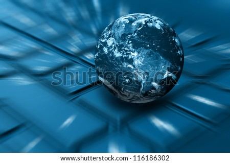 Internet Concept - Planet Earth on Keyboard. Elements of this image furnished by NASA.
