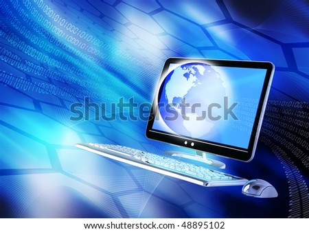 Internet concept presented in hi-tech blue background