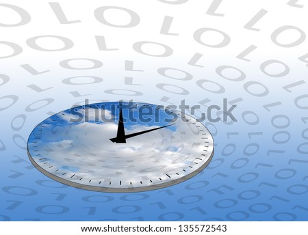 Internet concept showing clock circled by ones and zeros.