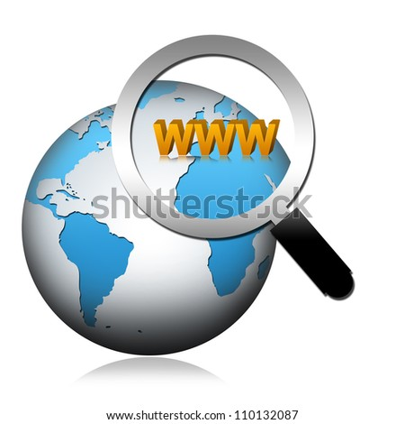 Internet Concept, The Globe With Magnify Glass and WWW Text  Isolated on White Background
