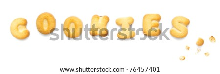 Internet concept - word COOKIES made of real cookies, isolated on white background