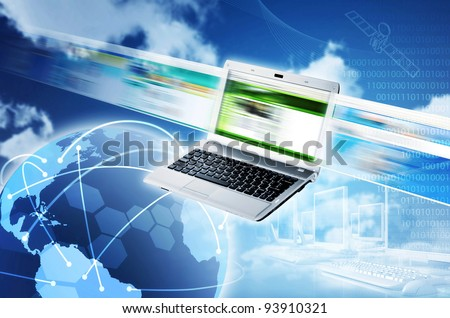 Internet concept. Worldwide Internet and information sharing. An image to illustrate how information being shared throughout the world with internet connection. - stock photo