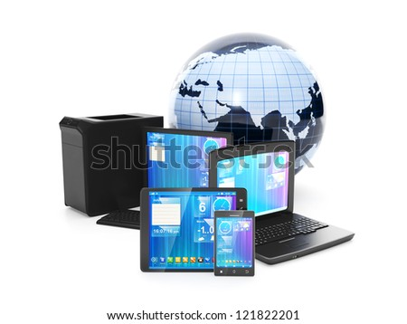 Internet. Connection mobile phone, tablet PC or laptop into a single Internet network