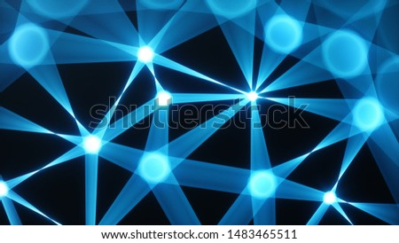 Internet connection technology concept. Cloud computing, neural communications of a supercomputer. Background from triangles connecting dots and lines. Cybersecurity concept. 3D Illustration