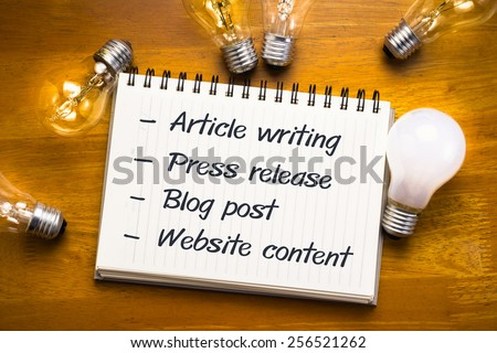 Internet content fields on notebook with many light bulbs