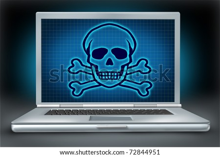 Internet danger symbol representing the concept of online hackers and computer viruses with an image of a laptop and a graphic of a skull and bones.