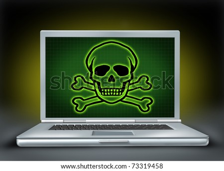 Internet danger symbol representing the concept of online hackers and computer viruses with an image of a laptop and green a graphic of a skull and bones.
