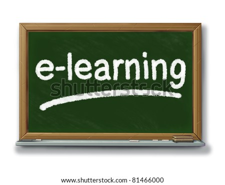 Internet education and e-learning symbol on a school black board with chalk representing education and training through social technology.