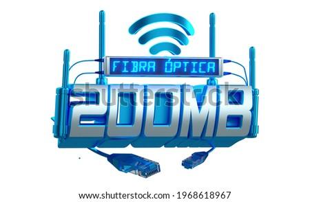 Internet Fiber optic 200 megs text in 3d rendering  Stock fotó ©