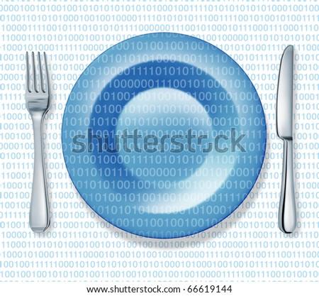 internet food fork plate knife isolated binary code web cuisine
