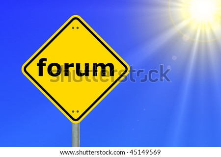 internet forum concept with yellow road sign
