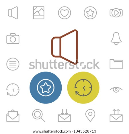 Internet icons set with volume, send mail and heart elements. Set of internet icons and time concept. Editable  elements for logo app UI design.