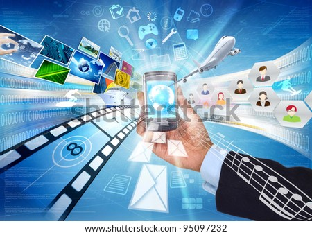 Internet in a smart phone. Conceptual image about how a smartphone connect to worldwide information and multimedia sharing.