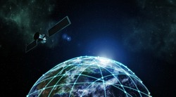 Internet Information technology image with outer space satellite network connection over planet earth