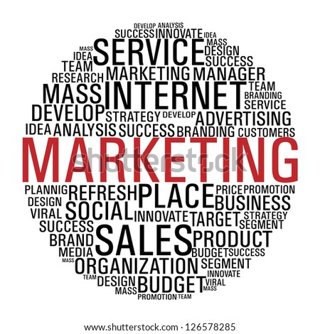 Internet Marketing concept words circle isolate over white.