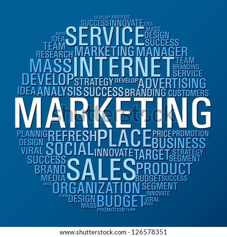 Internet Marketing concept words circle on blue background.