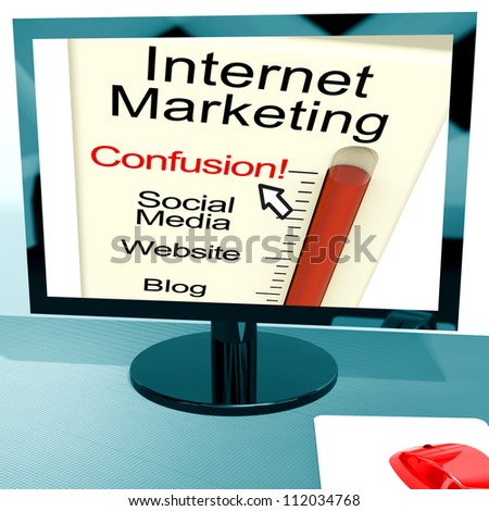 Internet Marketing Confusion Showing Online SEO Strategy