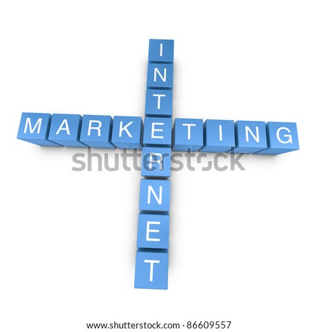 Internet marketing crossword on white background, 3D rendered illustration