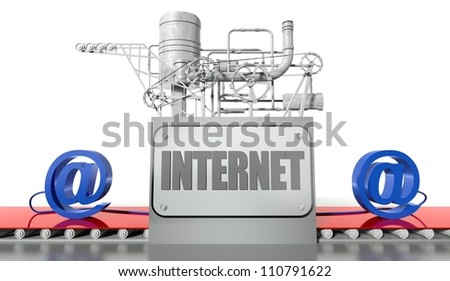Internet net concept with e-mail signs and machine