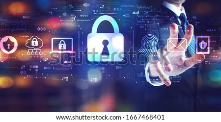 Internet network security concept with businessman on night city background Foto stock ©