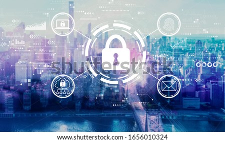 Internet network security concept with the New York City skyline near midtown