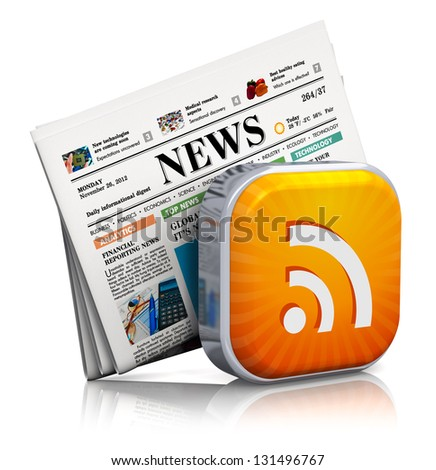 Internet news and web RSS concept: orange RSS symbol and stack of business newspapers isolated on white background with reflection effect