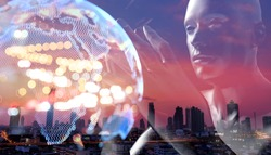 Internet of things Disruption everything , neural network , power grid energy , artificial intelligence concept. 3d rendering of robot ,world building twilight sunset of city abstract background.