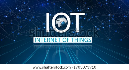 Internet of things IoT and networking concept for connected devices. Spider web of network connections with on a futuristic blue background. Innovation sign. Digital design concept.  Stockfoto ©