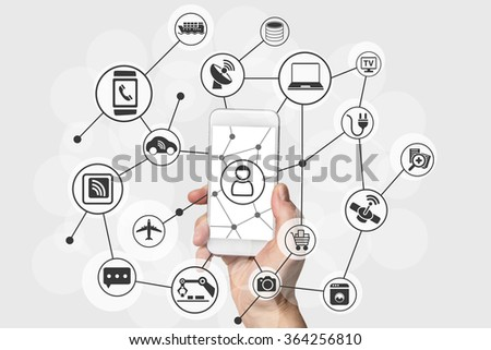 Internet of things (IOT) concept with hand holding modern smart phone