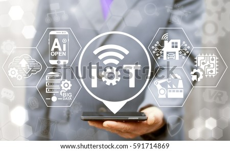 Internet of things (IoT) industrial business smart devices wifi tech concept. Intelligence mobile control process, digital management, development industry 4.0 manufacturing engineering technology #591714869