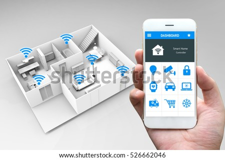 Internet of things , iot , smart home and network connect concept. Human hand holding white phone and smart home application with 3d rendering room and wifi icons #526662046