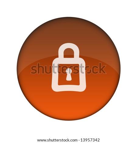 Internet/Online Applications Lock 3D Button