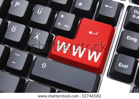 internet or online concept with www on computer keyboard