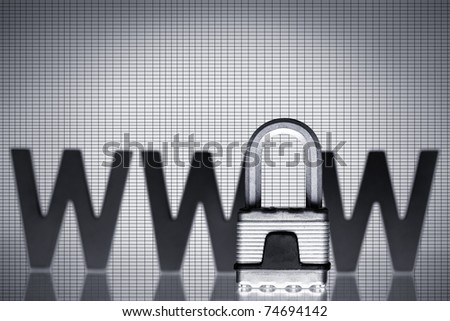 Internet protection: Padlock with three black wooden W characters isolated on grey background with copy-space.