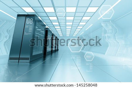 internet provider server room in futuristic interior of data center