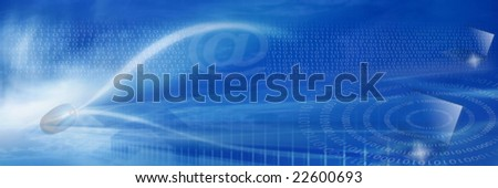 """Internet's universe and global data concept. (binary numbers, mouse, """"at"""" and 2 laptops)"""