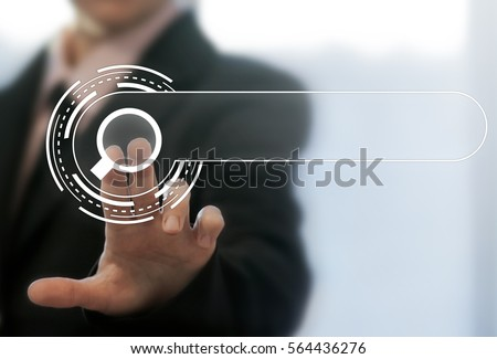 Internet search business web computer template concept. Fingers touching search button with magnifying glass, searching engine icon. Web surfing, find websites, looking for information concepts