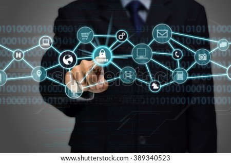 Internet Secured network Connection conceptual image with business man touching a padlock protected secured internet connection - Shutterstock ID 389340523