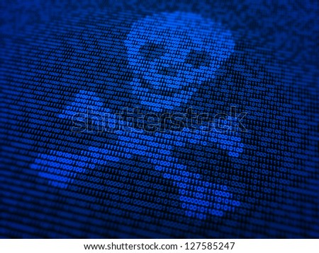 Internet security and malware concept illustration - a skull and bones symbol made out of binary code