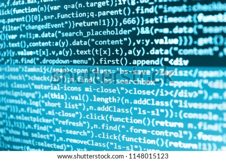 Coding script text on screen  Software abstract background